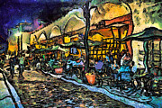 Night Cafe Framed Prints - Aviles Street at night Framed Print by Stacey Sather