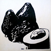 Vegetable Drawings Prints - Avocados in Black and White Print by Debi Pople
