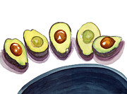 Navy Paintings - Avocados by Katherine Miller