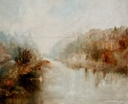 Clifton Painting Posters - Avon Gorge In January Mist Poster by John  Lansdown