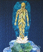 Fabric Collage Tapestries Textiles Posters - Awakening Poster by Lynda K Boardman