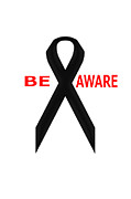 Awareness Posters - Awareness Ribbon Black Poster by Kristina Skiba