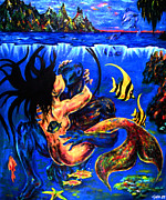 Mermaid Lovers Posters - Away From Prying Eyes Poster by Garbis Bartanian
