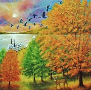 Arkansas Paintings - Awesome Ozarks Autumn by Gordon W Miller