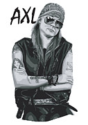 White Digital Art Posters - Axl Rose Poster by Caio Caldas