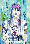 Guns N Roses Metal Prints - Axl Rose Portrait.1 Metal Print by Fabrizio Cassetta