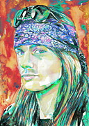 Rose Metal Prints - Axl Rose Portrait.2 Metal Print by Fabrizio Cassetta