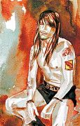 Axl Rose Framed Prints - Axl Rose Portrait.4 Framed Print by Fabrizio Cassetta