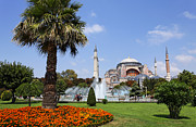 Aya Sofya Prints - Aya Sofya and Gardens Istanbul Print by Robert Preston
