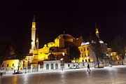 Old Pyrography Prints - Aya Sophia in Istanbul Turkey at night Print by Raimond Klavins