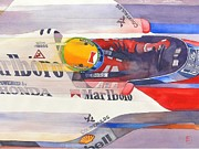 Watercolor Sports Art Paintings - Ayerton by Robert Hooper