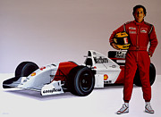 Champion Framed Prints - Ayrton Senna Framed Print by Paul  Meijering