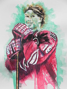 Greeting  Cards. Arizona Paintings - AZ Coyotes ...Hockey Player Shane Doan by Chrisann Ellis