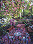 Azaleas And Cherry Blossoms Print by David Lloyd Glover