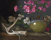 Antler Paintings - Azaleas and Dogwood by Timothy Jones