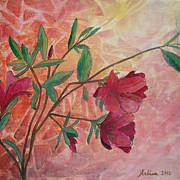 Azalea Bush Paintings - Azaleas by Arlissa Vaughn