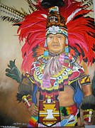 Native-american Tapestries - Textiles Prints - Aztec Chief Salinas Print by Sonia Rodriguez