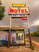 Collectables Digital Art Framed Prints - Aztec Motel on Route 66 Framed Print by Ron Regalado