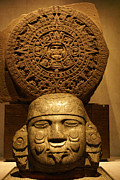 Latin America Photos - Aztec Sculpture And Calendar   by John  Mitchell