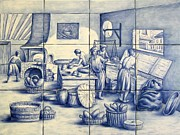 Decorative Tile Ceramics Posters - Azulejo Portuguese Bakers Tile Mural Poster by Julia Sweda-Artworks by Julia