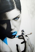 Cigarette Posters - Azure Addiction Poster by Christian Chapman Art