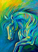 Colorful Horse Paintings - Azure Wave by Theresa Paden