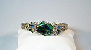 Wirework Jewelry - Azurite Malachite Natural Stone Bracelet in Sterling by Holly Chapman