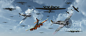 Bomber Escort Posters - B-17 Bombers And P-51 Mustangs Poster by Mark Stevenson