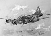 Bomber Drawings - B-17 Flying Fortress by Jim Hubbard
