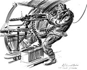 Battle Drawings Framed Prints - B-17 Waist Gunner 1942 Framed Print by Padre Art