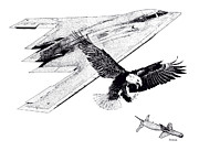 Bomber Drawings - B-2 Spirit by Joseph Juvenal