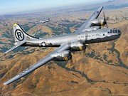 B Digital Art Posters - B-29 On Silver Wings Poster by Stu Shepherd