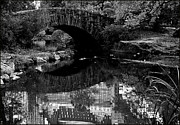 Gapstow Bridge Framed Prints - B and W Central Park Reflections Framed Print by Allan Einhorn