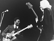 Music Metal Prints - B B King and Johnny Winter Metal Print by William Rose