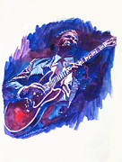 Guitar Players Framed Prints - B. B. King Blue Framed Print by David Lloyd Glover