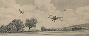 Biplane Prints - B Flights Back Print by Wade Meyers