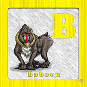 Abc Drawings - B for Baboon by Jason Meents