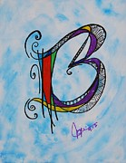 Angel Mermaids Ocean Painting Prints - B Monogram Print by Joyce Auteri