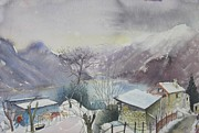 Switzerland Paintings - B03. Above Lac Maggiore CH by Les Melton