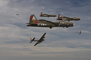 Military Aviation Posters - B17 - Down Poster by Pat Speirs