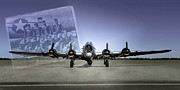 United States Army Air Forces Posters - B17 Flying Fortress And Crew Poster by F Leblanc