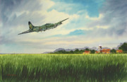 Norfolk; Painting Prints - B17 over Norfolk England Print by Bill Holkham