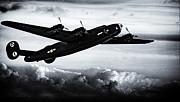 United States Army Air Forces Posters - B24  Liberator Diamond Lil B and W Poster by F Leblanc