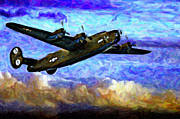 United States Army Air Corps Posters - B24  Liberator Diamond Lil SUNSET Poster by F Leblanc