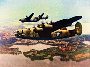 War Art - B24 Liberators Over Germany by Shawna Mac by Shawna Mac