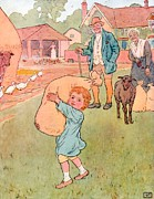 Nursery Drawings Prints - Baa Baa Black Sheep Print by Leonard Leslie Brooke