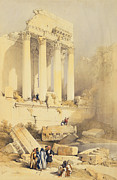 Figures Painting Posters - Baalbec Poster by David Roberts