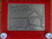 Etch A Sketch Prints - Babbs Bridge Print by Marijane Brink