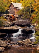 Stream Digital Art Originals - Babcock Grist Mill and Falls by Jerry Fornarotto