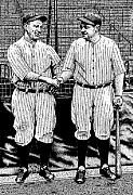 Yankees Drawings Framed Prints - Babe and Lou Framed Print by Bruce Kay